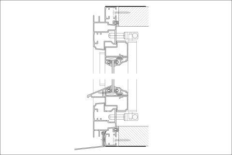 Schnitt Rahmenpfostenfenster oben und unten