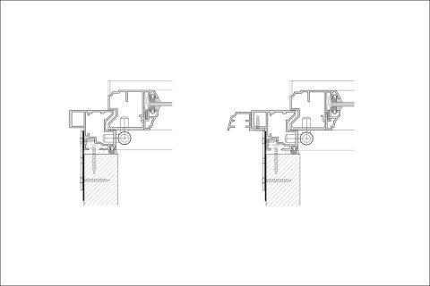 Leistenpfostenfenster seitlich - in LeiSchnitt Leistenpfostenfenster seitlich - in Leibung und vor Fassadebung und vor Fassade